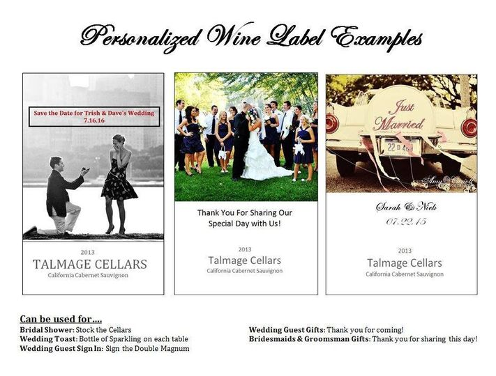 personalized wine label examples weddings