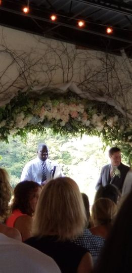 Officiant in wedding ceremony