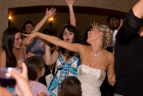 Happy bride enjoying the party
