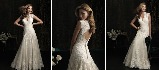 Front and back of backless sleeveless wedding dress