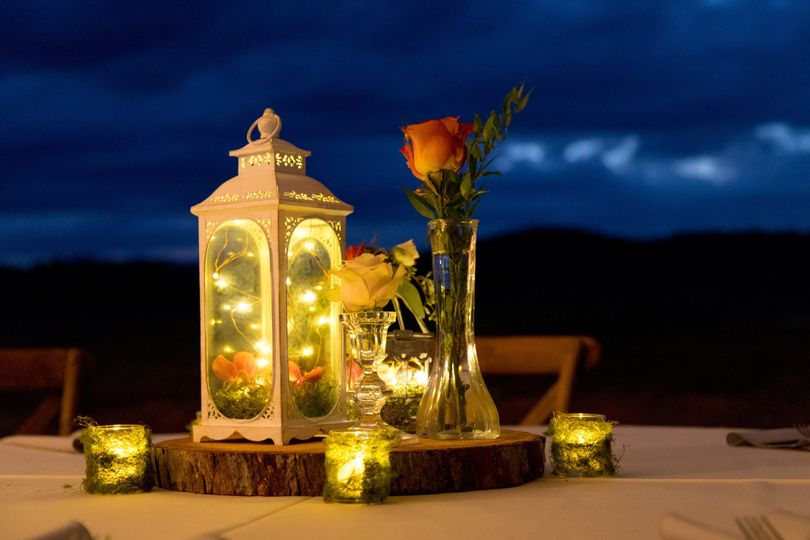 Table with lantern centerpiece