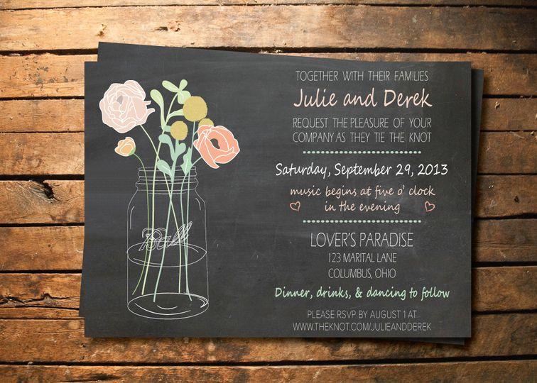 mason jar vase chalkboard invite
