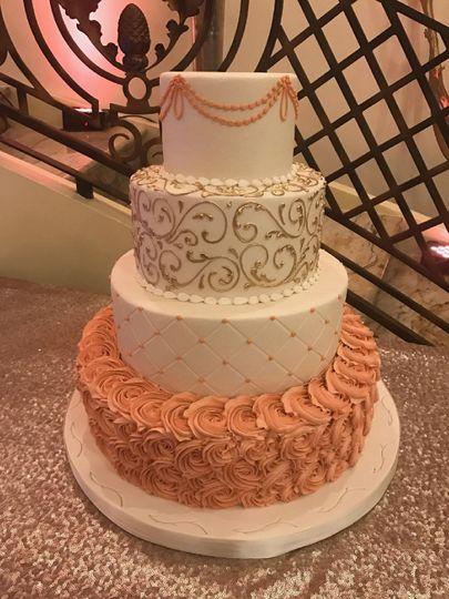 Wedding cake with peach bottom