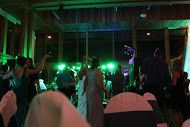 Wedding reception with green lights