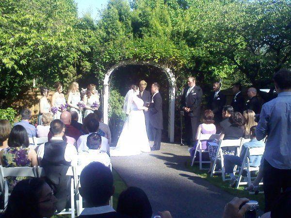 Wedding ceremony at Monte Villa Farmhouse in Bothell, WA.