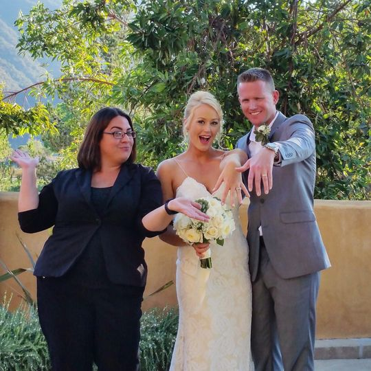 Officiant presenting the newlywed couple