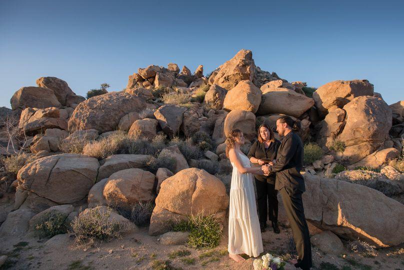 Wedding by the rocks