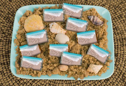 Beach Wedding Favors: Seaside Love  http://wrappedhersheys.com/p/Seaside-Love.cfm