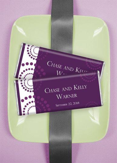 Wedding Candy Favors: Eggplant Whirlwind  http://wrappedhersheys.com/p/Eggplant-Whirlwind.cfm