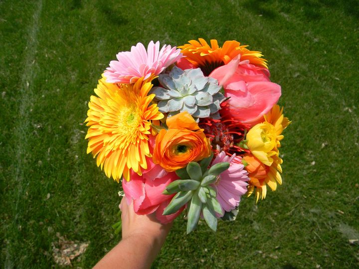 Flower bouquet with succulents