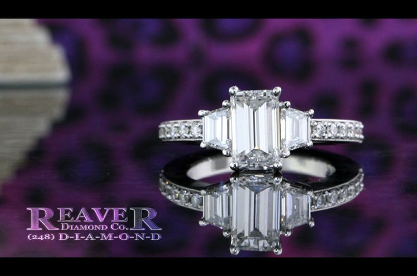 The Three-Stone Radiant and Trapezoid with Diamond Band