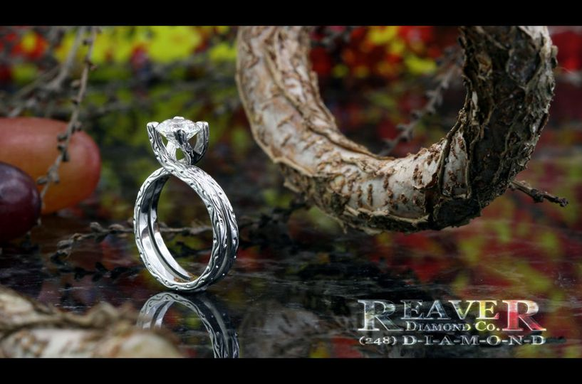 The Platinum Vine Ring with Hand Engraving