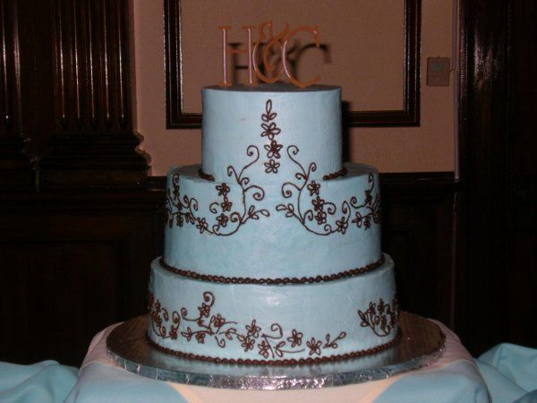 Blue icing with chocolate piping to replicate the lace pattern of the bride's dress with chocolate...