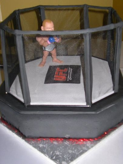 Groom's cake of the Ultimate Fighting Championship cage atop a fondant covered 15 X 17 cake with...