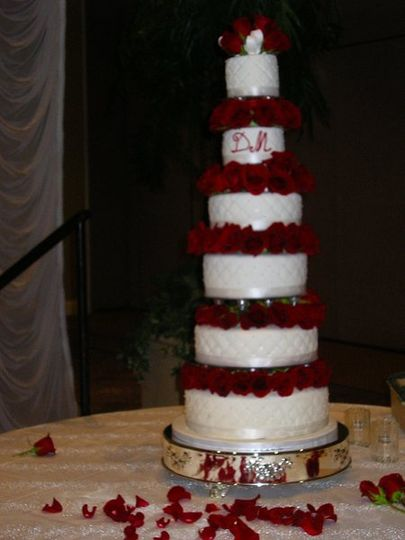 All six tiers of this enormous cake were made of Red Velvet cake and cream cheese butter cream...
