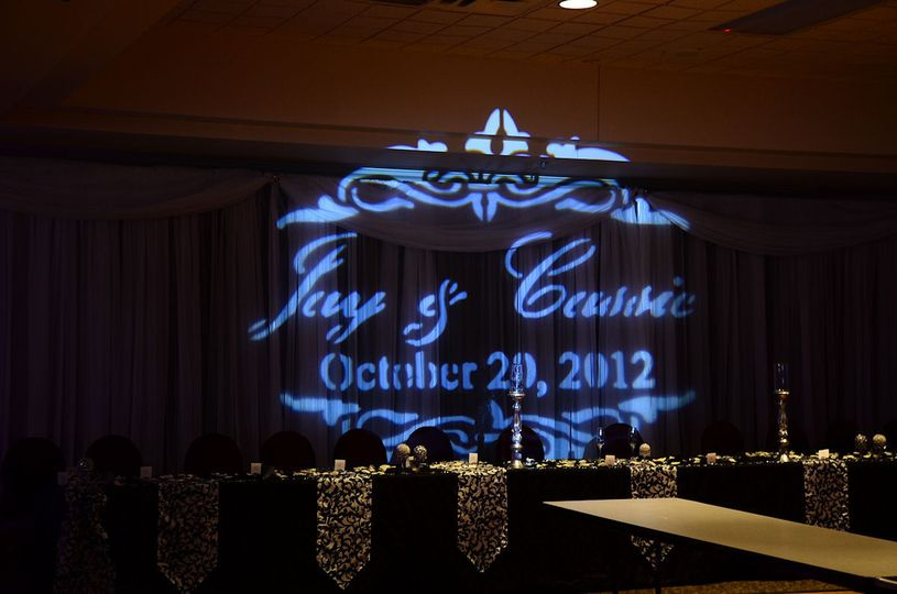Put the bride and grooms name up in lights with a gobo projection highlighting your wedding. Gobo...