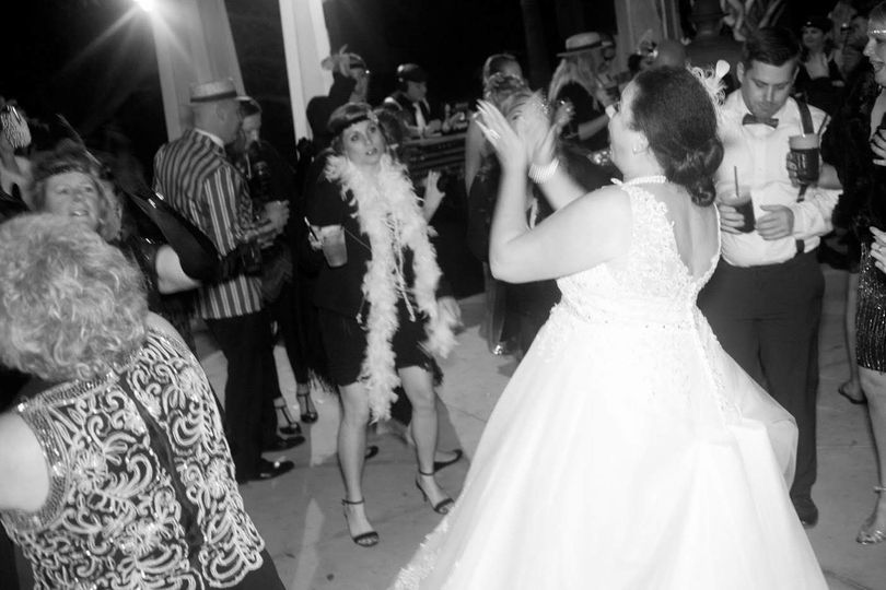 Newlyweds and guests on the dance floor