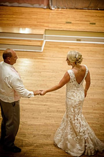 Kimball Ballroom Columbia MO wedding reception Bride and dad dance