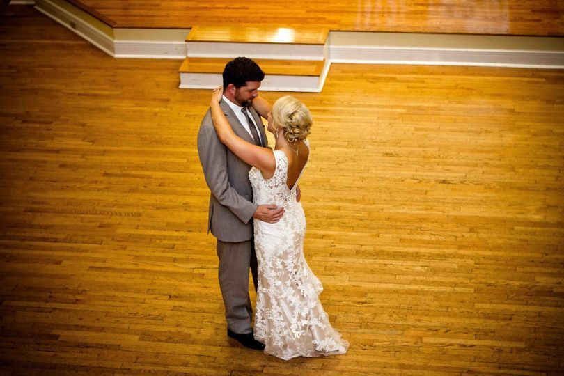 Kimball Ballroom Columbia MO wedding reception Bride and groom first dance