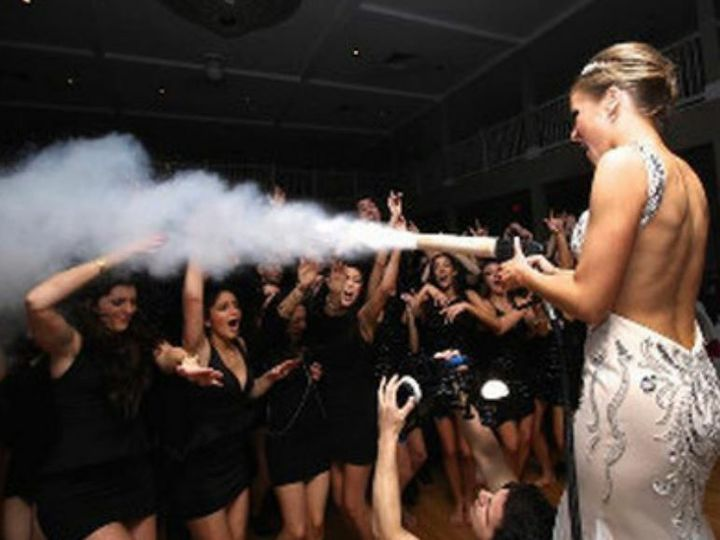 Bride using smoke effects