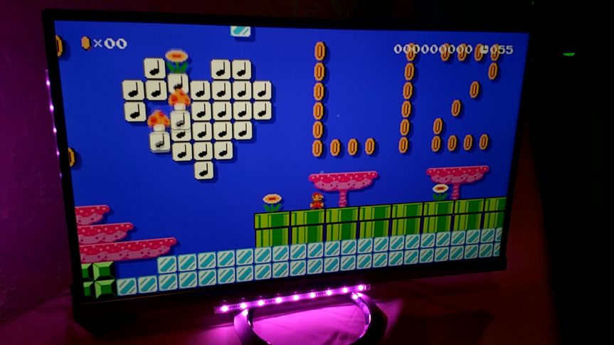 Custom couple Super Mario level on display