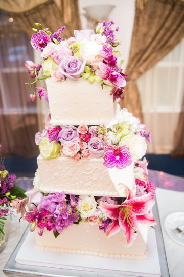 3-tier floral wedding cake