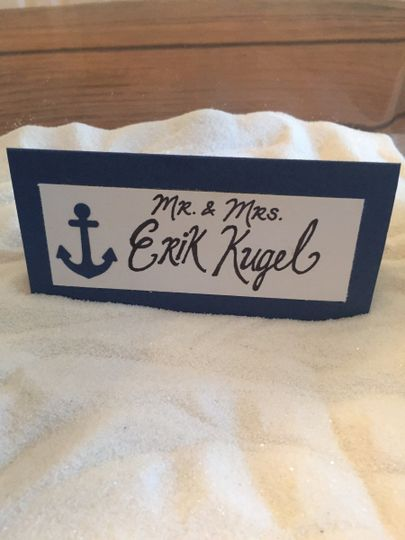 Nautical Navy Blue Escort Cards with Calligraphy