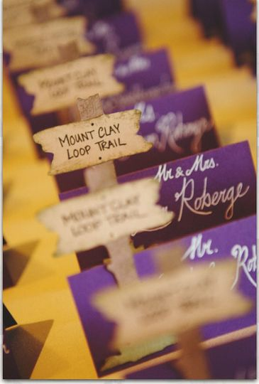 Hiking Trail Escort Cards for Rustic Wedding