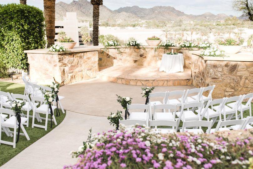 Garden Terrace Ceremony Set Up