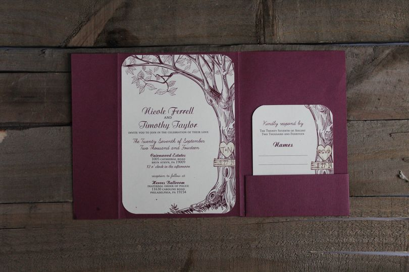 One of our most popular wedding invitations.  Choose any color for your invitation.