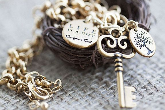 origami owl gold key dangle
