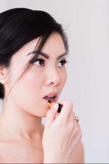 Bride wearing lipstick