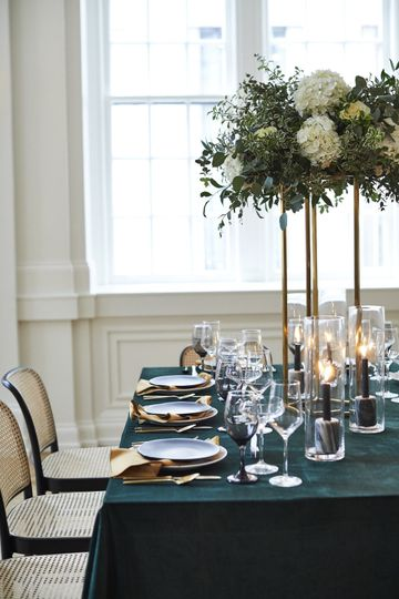 Design by Modern Vintage EventsLuxurious textures for the head table (rentals by 12th Table, Liberty...