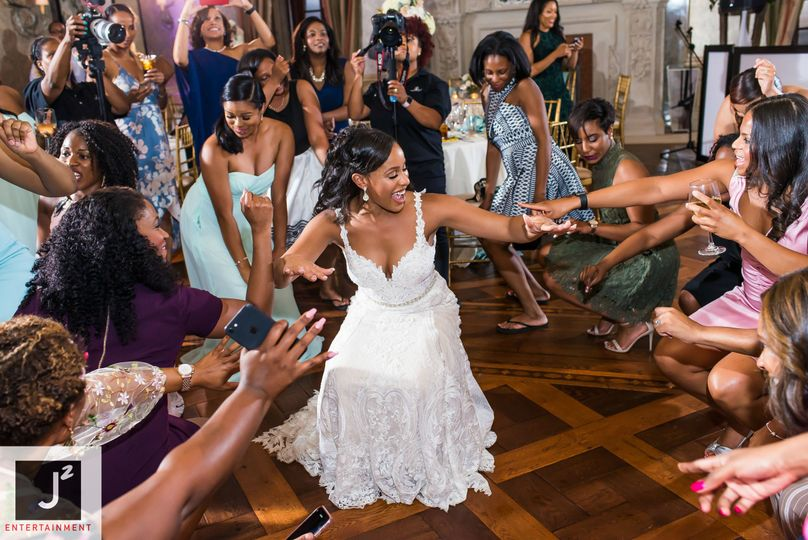 The bride having the time of her life