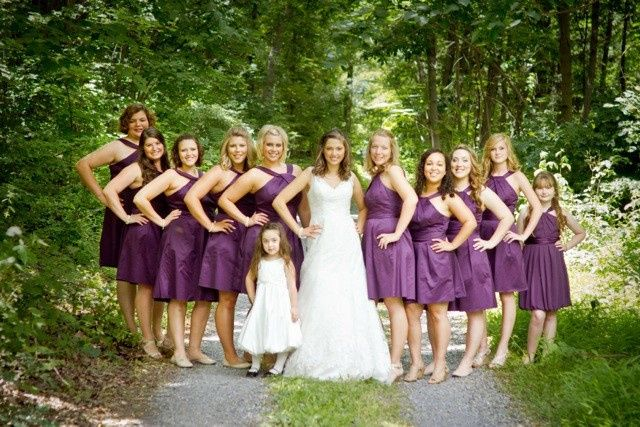 Bride, bridesmaids, and flower girl