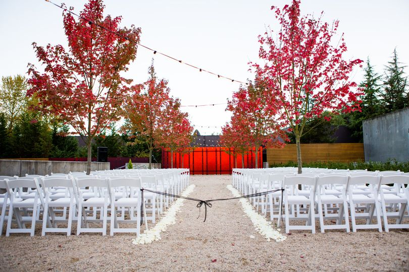 Ceremony setup by the trees