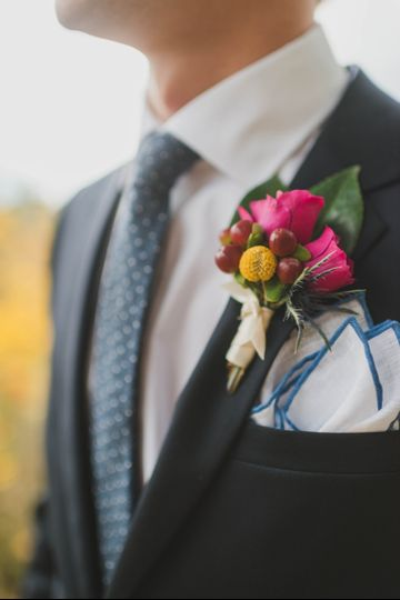 Fuschia and yellow boutonniere Stephanie Dee Photography