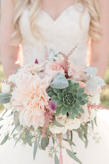 Rustic, blush and peach bridal bouquet with succulents