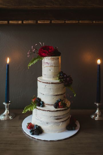 Moody jewel-toned naked cake | Stephanie Dee Photography