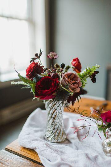Moody jewel-toned bud vase Stephanie Dee Photography