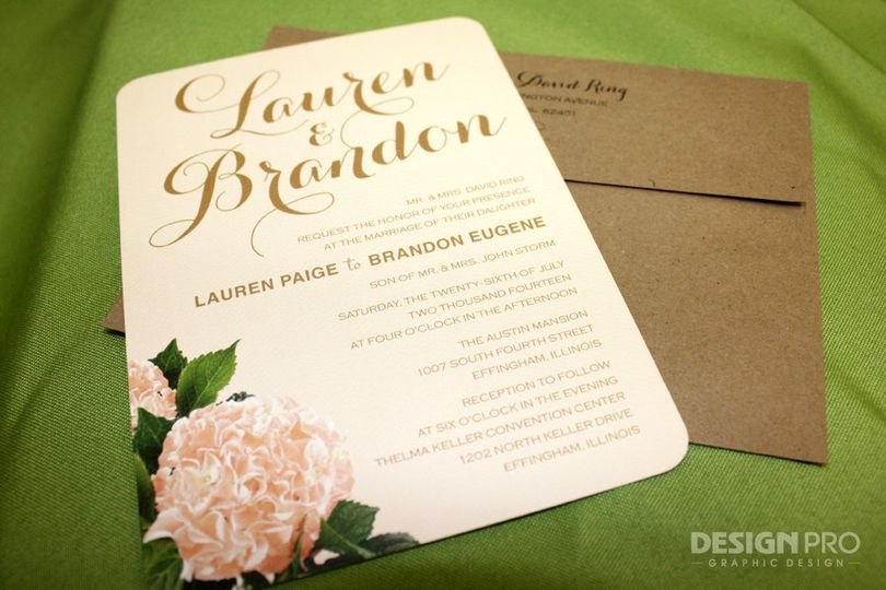 Wedding Invitations with Rounded Corners