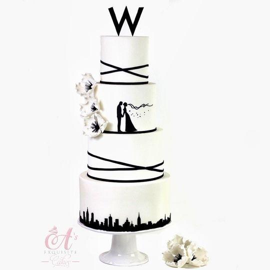 White wedding cake with black details