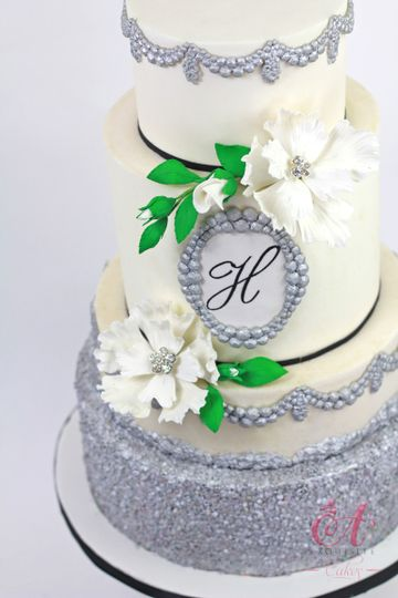 White wedding cake with silver layer