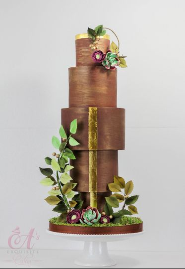 Bronze Sunset Wedding Cake
