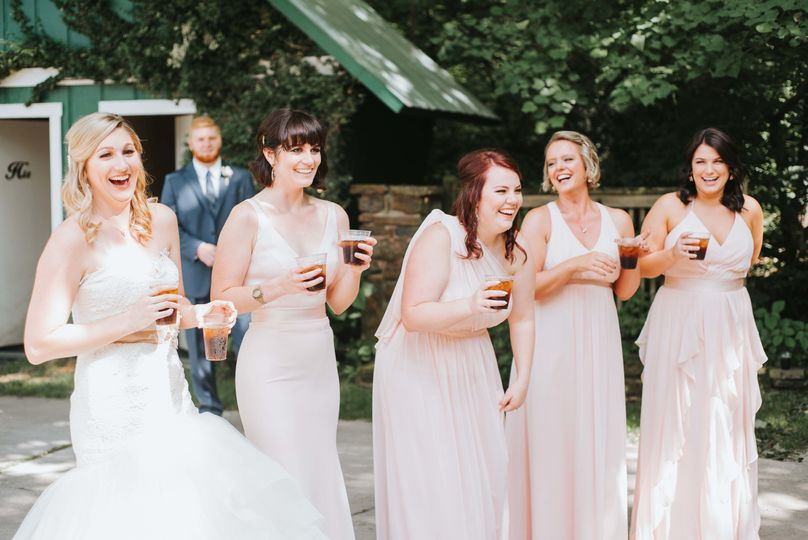 Laughter from the bride and bridesmaids