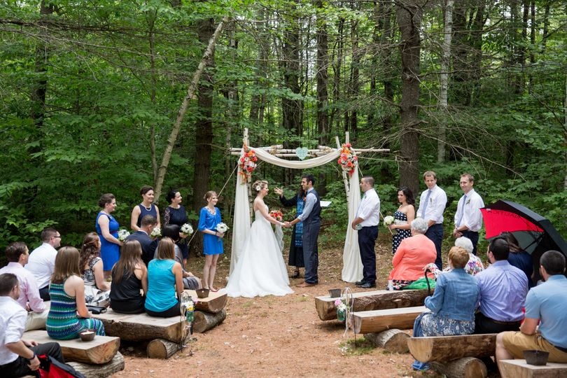 Pine Cathedral Intimate Ceremony on our hemlock benches and under our birch arbor