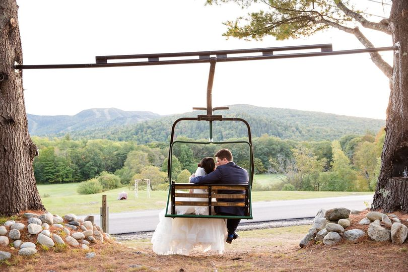 How romantic to sit in our authentic, onsite, chairlift swing overlooking the meadow and mountains!