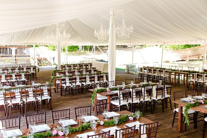 Wedding tent liner really upgrades the feel under the tent for your dinner experience