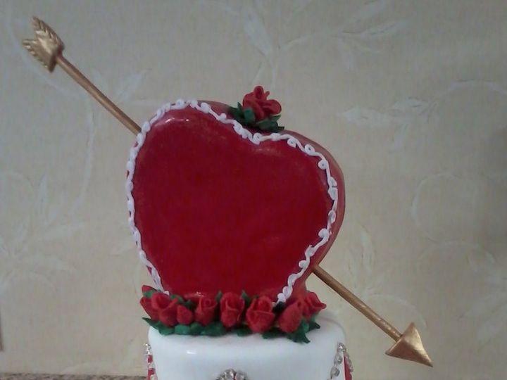 Tmx 1360084661528 CupidsArrowValentinesCake Raleigh wedding cake