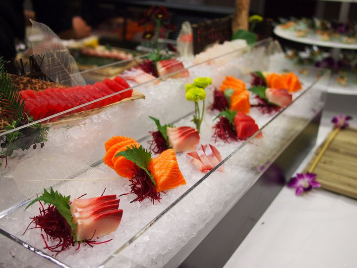 Sushi Private Catering clear ice cold sashimi set up for   sushi wedding events.